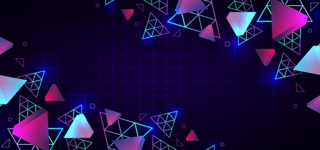 Abstract 80s trendy geometric background neon colors Premium Vector