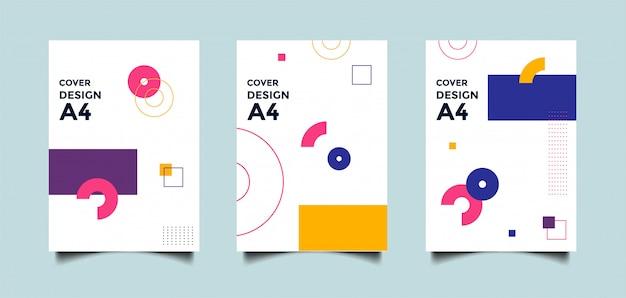 幾何学的図形と抽象的なa4カバーの背景 Premiumベクター