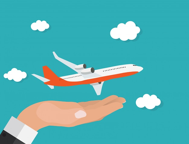 Abstract airplane with hand vector illustration Premium Vector