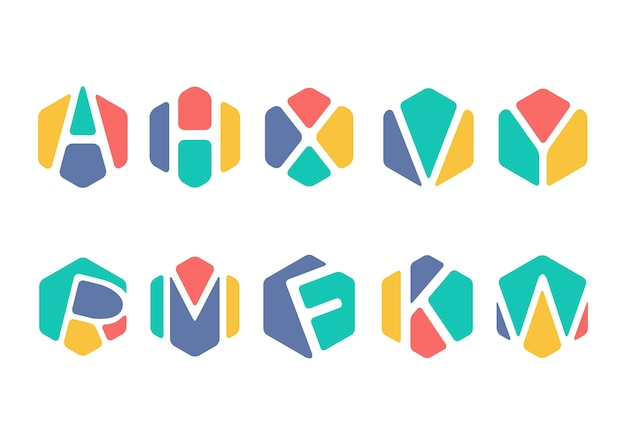 Abstract Alphabet Hexagon Symbol Vector Premium Download