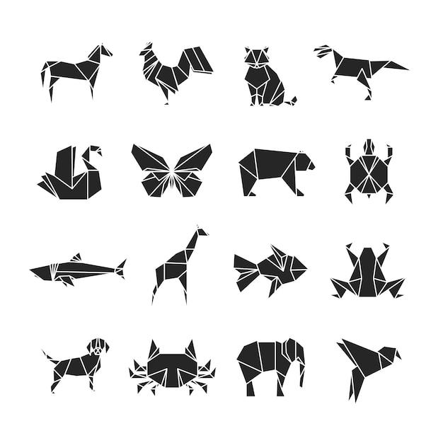 Абстрактные силуэты животных с деталями линии. животные иконы, изолированные на белом Premium векторы