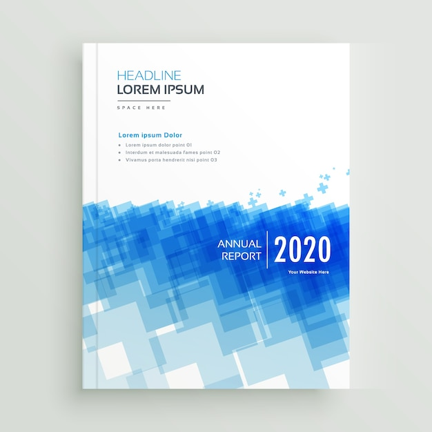 Abstract annual report company brcohure design with abstract blue geometric shapes