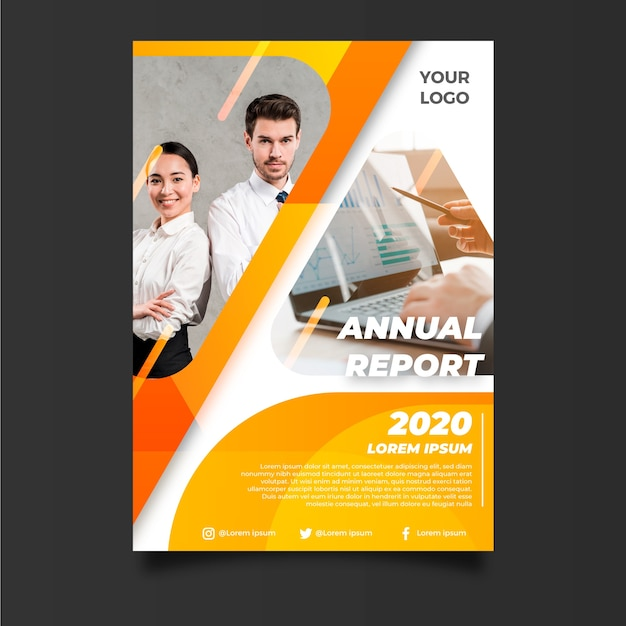 Abstract annual report template with business partners Free Vector