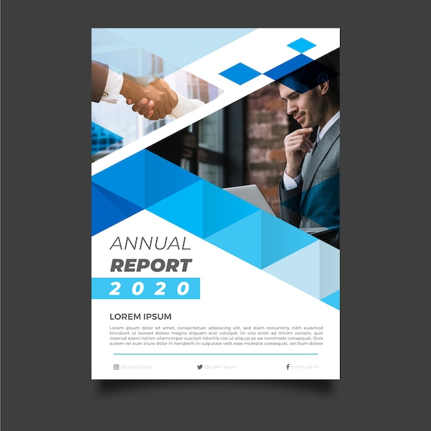 Abstract annual report template with businessman Free Vector