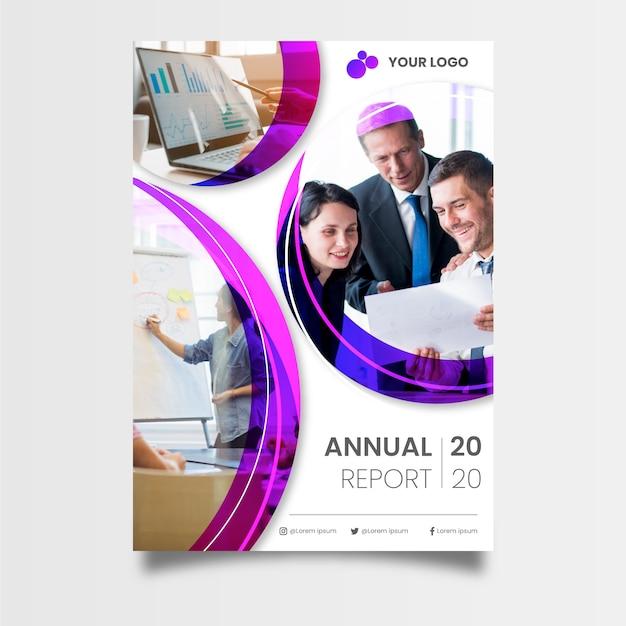 同僚と抽象的な年次報告書テンプレート 無料ベクター