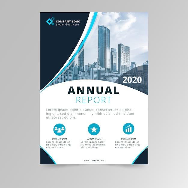 Абстрактный годовой отчет шаблон с фото дизайн Бесплатные векторы