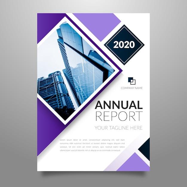 Абстрактный годовой отчет шаблон с фотографией Бесплатные векторы