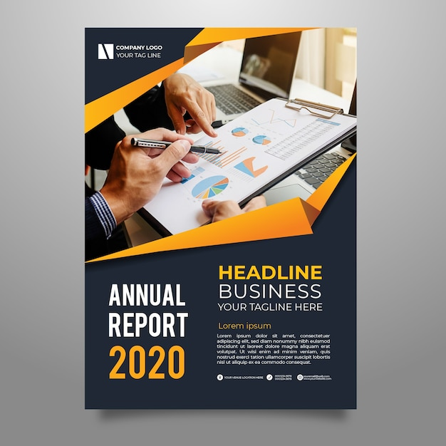 Abstract annual report template with photo Free Vector