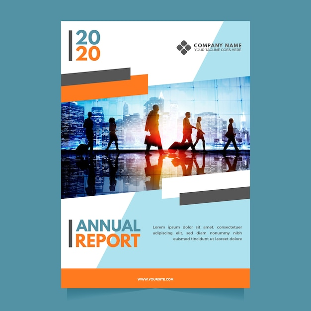 Абстрактный годовой отчет шаблон с фотографией Premium векторы