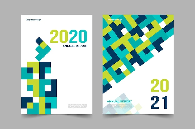 Abstract annual report templates pack Free Vector