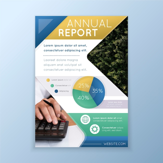 Abstract annual report with image template Free Vector