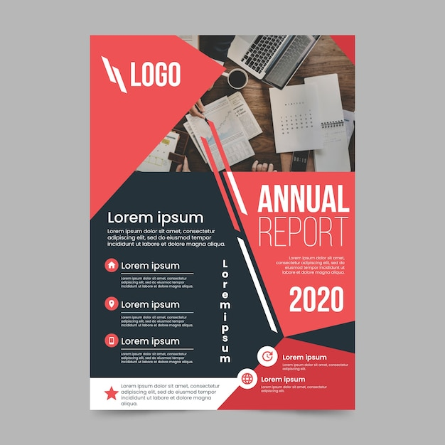 Abstract annual report with photo Free Vector
