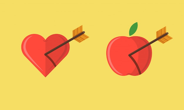Abstract apple and heart shot with an arrow illustration set Premium Vector