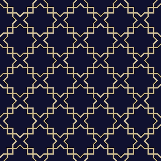 Abstract arabic seamless pattern,dark blue and gold texture Premium Vector
