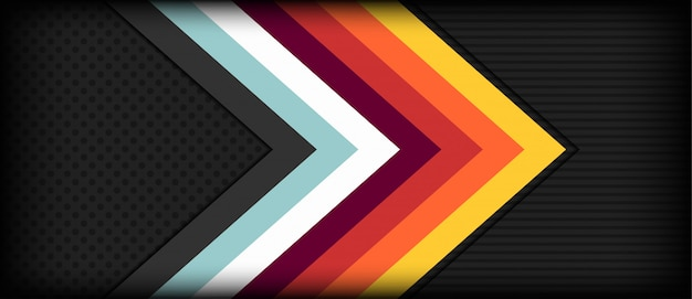 Abstract arrow retro background with colorful stripes Premium Vector