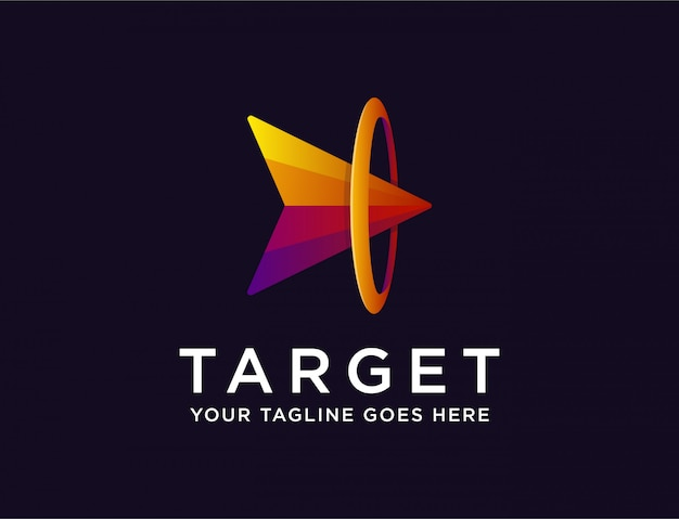Abstract arrow on target, archievement logo Premium Vector