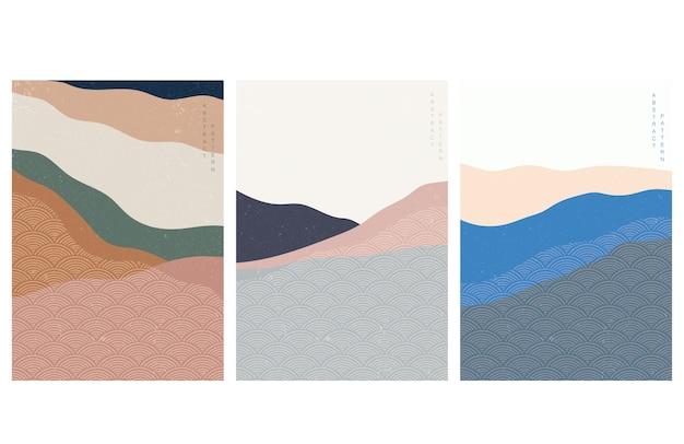 일본 웨이브 패턴으로 추상 미술 배경입니다. 트 레트로 스타일의 예술 풍경. 산 숲 템플릿입니다. 프리미엄 벡터