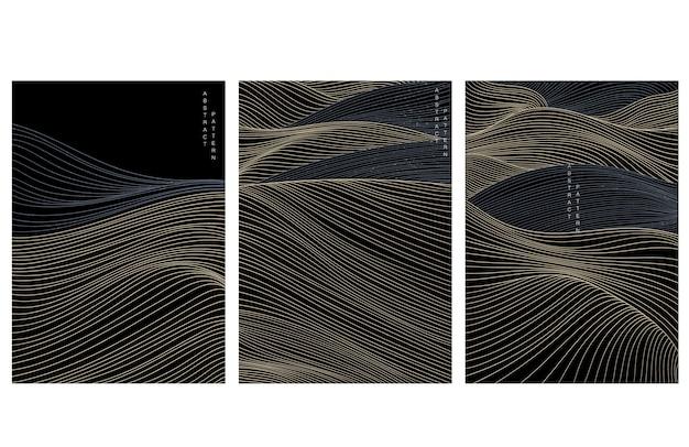 일본 웨이브 패턴으로 추상 미술 배경 프리미엄 벡터