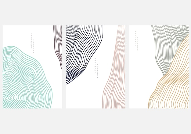 Abstract art background with line art landscape Premium Vector