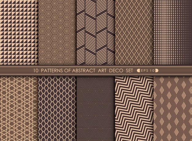 Abstract art deco pattern set background. Premium Vector