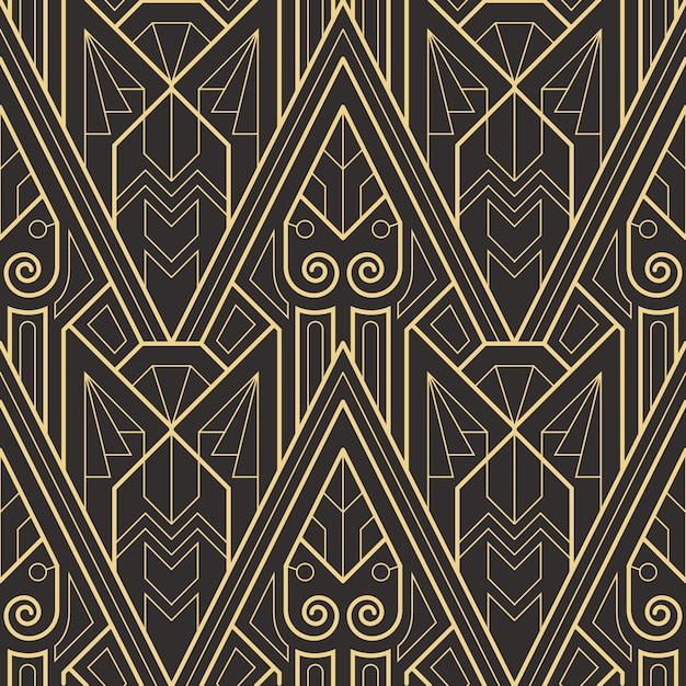 Abstract art deco seamless modern tiles pattern Premium Vector