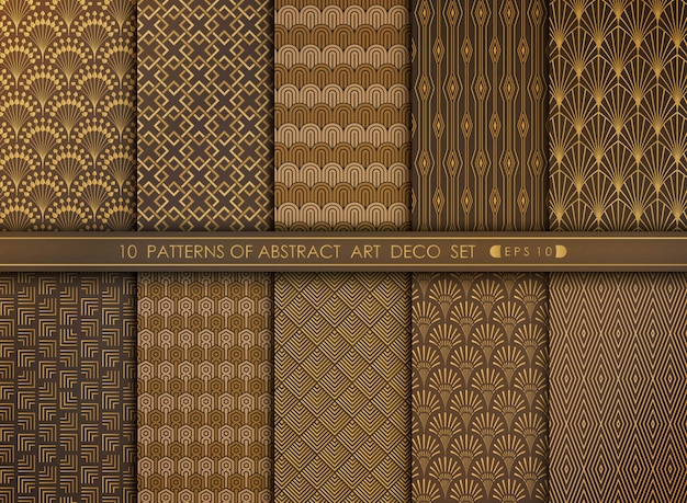 Abstract art deco style pattern set of decoration background. Premium Vector