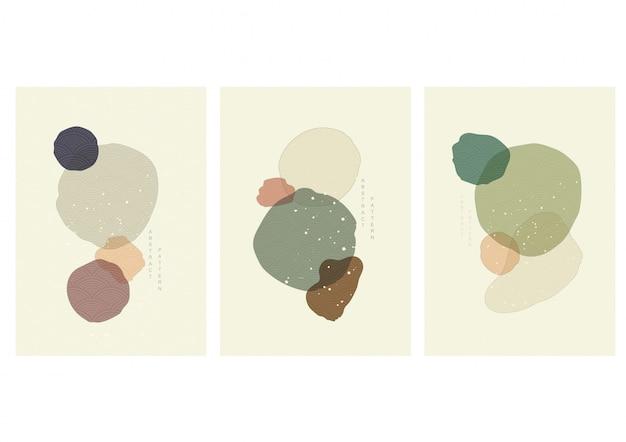 Иллюстрация абстрактного искусства с японским вектором волны. художественная акриловая картина в винтажном стиле. Premium векторы