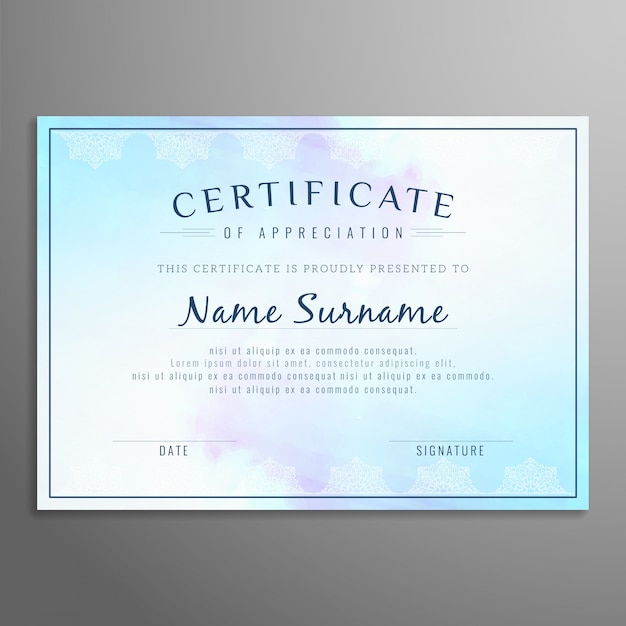 Abstract artistic certificate design