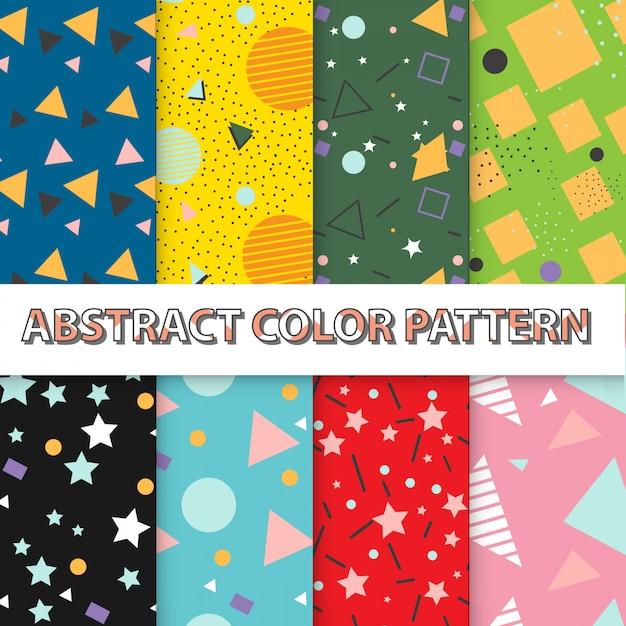 Abstract artistic design seamless pattern wallpaper set Premium Vector