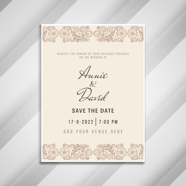 Abstract Artistic Wedding Invitation Card Template Vector Free