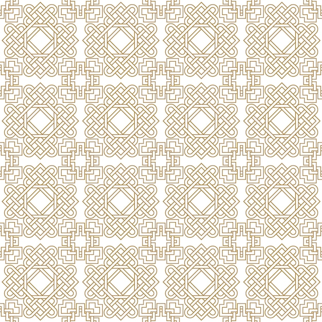 Abstract asian seamless pattern with celtic knots Premium Vector