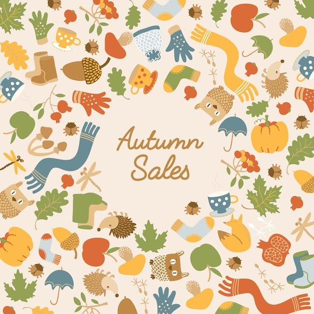碑文と光のカラフルな季節の要素を持つ抽象的な秋の販売テンプレート 無料ベクター