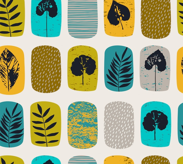 Abstract autumn seamless pattern with leaves. Premium Vector