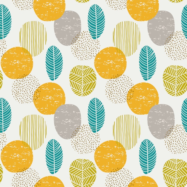 Abstract autumn seamless pattern with leaves Premium Vector