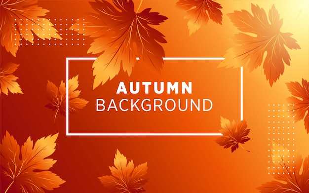 Abstract autumn vector background with leaf and golden rays. Premium Vector