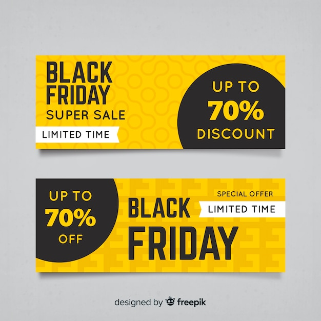 Abstract back friday sales banner collection Free Vector