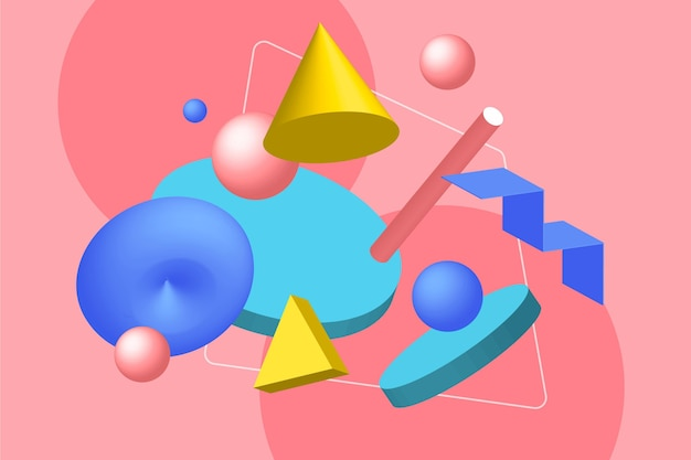 Abstract background 3d geometric shape Free Vector