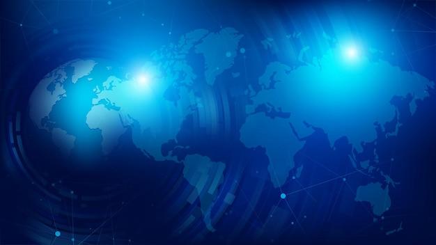 抽象的な背景3d地球球と点線の世界地図 Premiumベクター