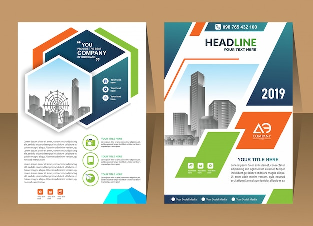 Abstract background annual report template design business brochure cover Premium Vector