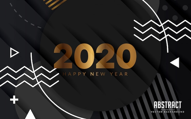 Abstract background black and gold happy new year modern Premium Vector