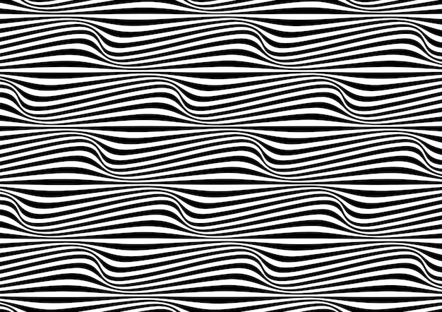 Abstract background in black and white with wavy lines pattern Premium Vector
