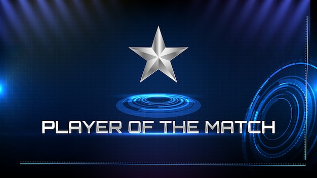 Abstract background of blue futuristic technology metal star and player of the match sign text Premium Vector