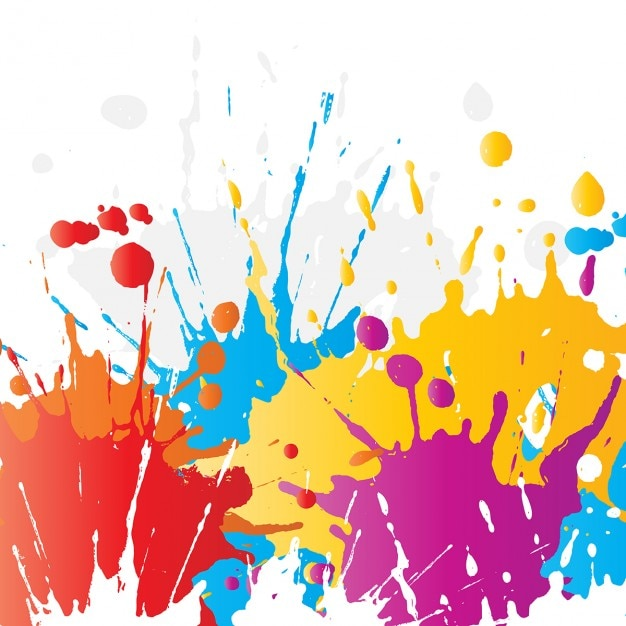 Abstract background of brightly coloured paint splats Free Vector