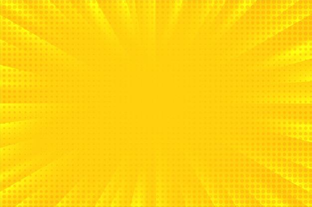 추상적 인 배경 만화 만화 줌 노란색 광선 빛 하프 톤 도트 확산. 프리미엄 벡터