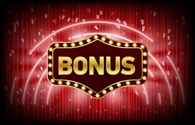 Abstract background of casino bonus vintage sign and confetti Premium Vector