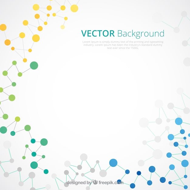 Abstract background of colored molecules in flat design Free Vector