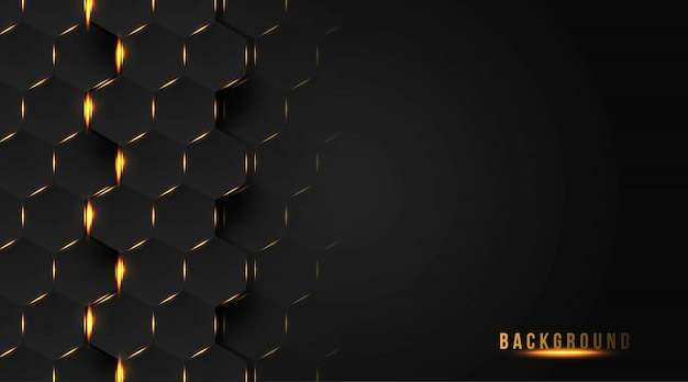 Абстрактный дизайн фона с золотым шестиугольником Premium векторы