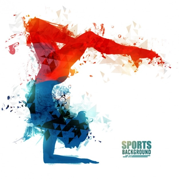 Abstract background of gymnast Premium Vector