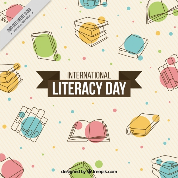Abstract background of hand drawn books for literacy day Free Vector