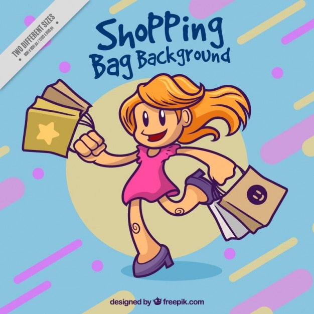 Abstract background of hand drawn shopping girl Free Vector